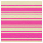 [ Thumbnail: Deep Pink and Tan Stripes Pattern Fabric ]