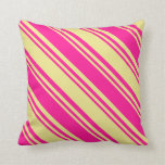 [ Thumbnail: Deep Pink and Tan Stripes Pattern Throw Pillow ]