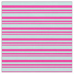 [ Thumbnail: Deep Pink and Turquoise Striped Pattern Fabric ]