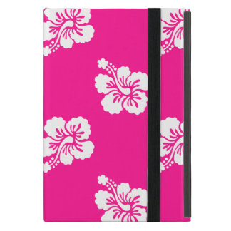 Deep Pink and White Hawaiian Flower Pattern Cases For iPad Mini