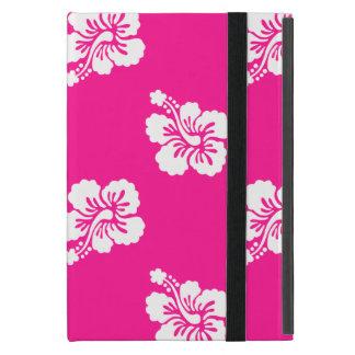 Deep Pink and White Hawaiian Flower Pattern iPad Mini Cases