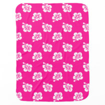 Deep Pink and White Hawaiian Flower Pattern Swaddle Blanket