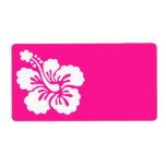 Deep Pink and White Hibiscus Custom Shipping Labels
