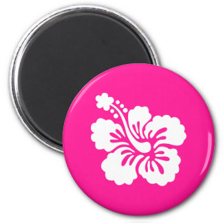 Deep Pink and White Hibiscus 2 Inch Round Magnet