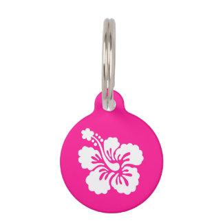 Deep Pink and White Hibiscus Pet ID Tags