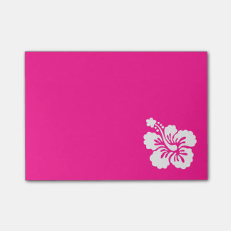 Deep Pink and White Hibiscus Post-it® Notes