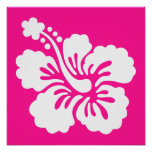 Deep Pink and White Hibiscus Poster