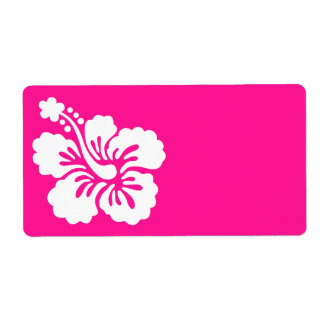 Deep Pink and White Hibiscus Shipping Label