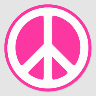 Deep Pink and White Peace Symbol Classic Round Sticker