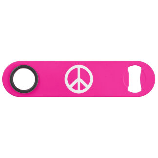 Deep Pink and White Peace Symbol Speed Bottle Opener