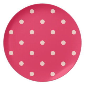 Deep Pink and White Polka Dots Plate