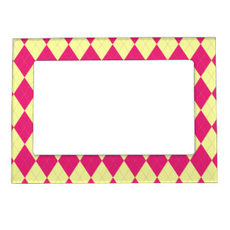 Deep Pink and Yellow Argyle Magnetic Frame