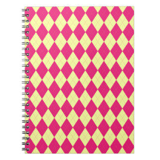 Deep Pink and Yellow Argyle Notebook