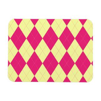 Deep Pink and Yellow Argyle Premium Flexi Magnet