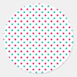 Deep Pink, Aqua, White Polka Dotted Classic Round Sticker