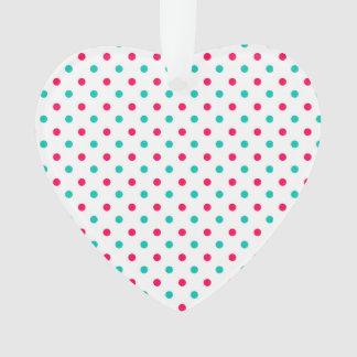 Deep Pink, Aqua, White Polka Dotted Ornament