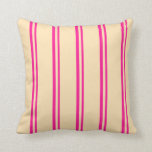 [ Thumbnail: Deep Pink & Beige Colored Striped Pattern Pillow ]