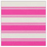 [ Thumbnail: Deep Pink & Beige Lines/Stripes Pattern Fabric ]