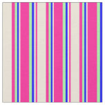 [ Thumbnail: Deep Pink, Bisque, Blue & Green Colored Stripes Fabric ]