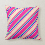 [ Thumbnail: Deep Pink, Bisque, Blue & Green Colored Stripes Throw Pillow ]