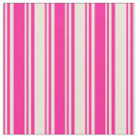 [ Thumbnail: Deep Pink & Bisque Colored Lines/Stripes Pattern Fabric ]