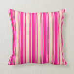 [ Thumbnail: Deep Pink & Bisque Colored Lines/Stripes Pattern Throw Pillow ]