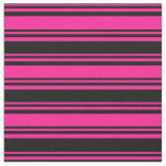 [ Thumbnail: Deep Pink & Black Colored Lined/Striped Pattern Fabric ]