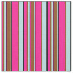 [ Thumbnail: Deep Pink, Black, Powder Blue, and Brown Lines Fabric ]