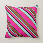 [ Thumbnail: Deep Pink, Black, Powder Blue, and Brown Lines Throw Pillow ]