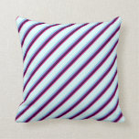 [ Thumbnail: Deep Pink, Black, Purple, Sky Blue & Light Cyan Throw Pillow ]