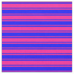 [ Thumbnail: Deep Pink & Blue Colored Lines Fabric ]