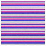 [ Thumbnail: Deep Pink, Blue & Light Grey Colored Lines Fabric ]