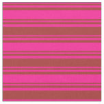 [ Thumbnail: Deep Pink & Brown Colored Stripes Fabric ]