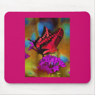 Deep Pink Butterfly Mouse Pad