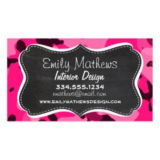 Deep Pink Camo Chalkboard look Business Card