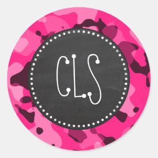 Deep Pink Camo; Chalkboard look Classic Round Sticker