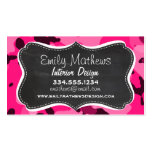 Deep Pink Camo; Chalkboard look Double-Sided Standard Business Cards (Pack Of 100)