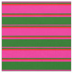 [ Thumbnail: Deep Pink, Dark Green & Red Colored Lines Fabric ]