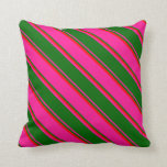 [ Thumbnail: Deep Pink, Dark Green & Red Colored Lines Pillow ]