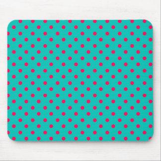 Deep Pink Dots on Aqua Blue Mouse Pad