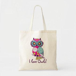 Deep Pink Floral Owl I Love Owls Tote Bag