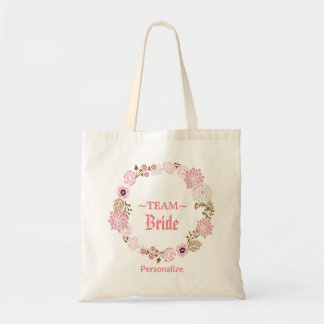 Deep Pink Floral Wedding Wreath Tote Bag