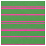 [ Thumbnail: Deep Pink & Forest Green Stripes Pattern Fabric ]