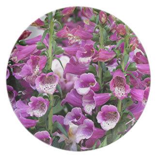 Deep pink foxgloves melamine plate