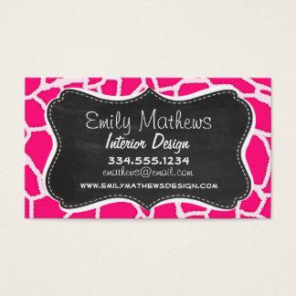 Deep Pink Giraffe Animal Print; Chalkboard Business Card