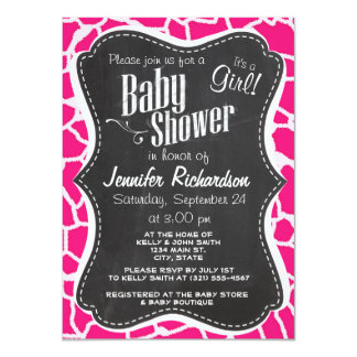 Deep Pink Giraffe Animal Print; Chalkboard Personalized Invitation