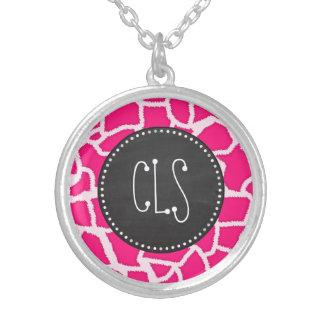 Deep Pink Giraffe Animal Print; Chalkboard Custom Necklace