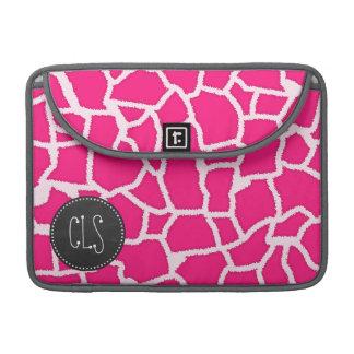 Deep Pink Giraffe Animal Print; Chalkboard Sleeve For MacBook Pro