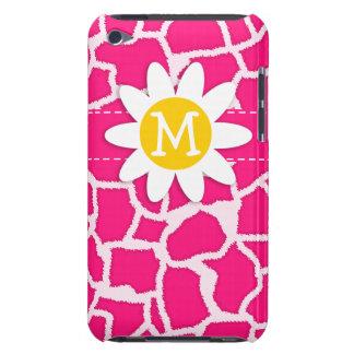 Deep Pink Giraffe Animal Print Daisy Barely There iPod Covers