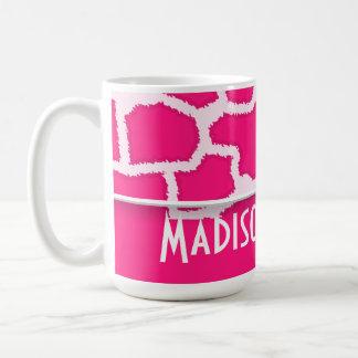 Deep Pink Giraffe Animal Print; Personalized Coffee Mug